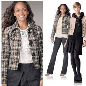CAbi 630 Tweed Woven Wool Blend Cropped Blazer